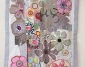 Flowers in gray and pink, Textile art, hand embroidered quilt wall hanging OOAK