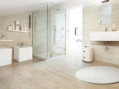 [BATHROOM] Faux wood tiles for wall & floor, no grout, similar colour as master flooring