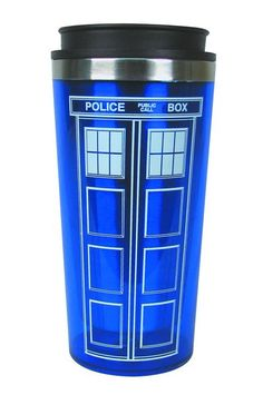 buy Doctor Who Tardis Travel Mug on sale at Urban Collector. Travel with the TARDIS! This travel mug looks like the Doctor's TARDIS time machine in the Thermos Mug, Tardis Doctor Who, Nerd Love, Don't Blink, Thats The Way, Blue Box, Dr Who, Geek Chic, Travel Mug
