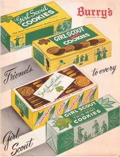 50s era Girl Scout cookies poster -- Burry's manufactured the cookies several times in the 50s -- 1953 and again in 1959