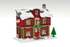 Welcome to the Winter Guest House! During the holiday season it's cold outside, but inside the guest house it's warm and cosy. Enjoy coffee or hot chocolate in the floor . Lego Christmas Sets, Lego Christmas Village, Lego Winter Village, Lego Village, Lego Projects, Projects To Try, The Winter Guest, Lego Calendar, Lego Gingerbread House