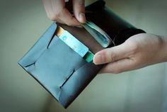 Origami men's leather wallet/ Personalized wallet/ by Delmin101