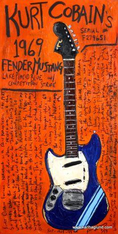 Kurt Cobain 1969 Fender Mustang guitar art print