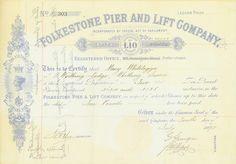 Folkestone Pier and Lift Company Folkestone, 10.07.1890, 2 Shares á £ 10, #303, 20,8 x 29,7 cm, hellblau, weiß, Knickfalten, Abbildung von Queen Victoria.