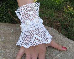 Jewelry / Bracelets Handflower bracelets cuff handmade crochet  Jewelry / Bracelets cuff Romantic Ethno Wrist Corsage