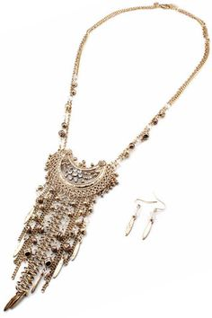 Mira Crystal Accent Fringe Necklace  - Antique Gold
