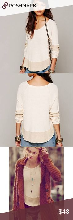 Free People Diamond Dozen Thermal Free People's We The Free label two toned long sleeve thermal with block colored bottom hem and sleeves.  Features unfinished raw edges and distressed color to give it that perfectly worn in look and feel.  In excellent condition. Free People Tops