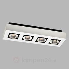Charmant Langwerpige LED Plafondlamp Vince In Wit, 4 La