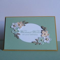 Card made in the new 2015 - 2017 Stampin Up In Colours with the the Petite Petals stamp set and co-ordinating punch.