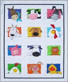 Love This : Animal Whimsy Quilt Pattern By Amy Bradley Designs (amazing Animal Quilts Quilt Baby, Boy Quilts, Quilt Patterns Free, Applique Patterns, Applique Quilts, Quilting Fabric, Patchwork Quilting, Block Patterns, Applique Designs