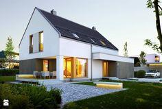 PROSTY 1 - nowoczesny dom bez okapu - Średnie jednopiętrowe nowoczesne domy jednorodzinne z dwuspadowym dachem murowane, styl nowoczesny - zdjęcie od DOMY Z WIZJĄ - nowoczesne projekty domów