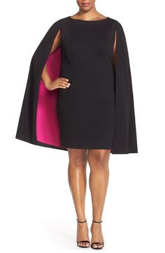 Adrianna Papell Color Pop Crepe Cape Sheath Dress (Plus Size) available at #Nordstrom