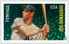 New York Yankees player Joe DiMaggio is being honored with a 2012 U.S. forever stamp. DiMaggio is best known for his 56-game hitting streak in 1941. He help lead the Yankees to ten pennants and nine World Series titles.  Artist/illustrator Kadir Nelson based the artwork in the stamp on a photograph of DiMaggio. The stamp will be part of a Major League Baseball All-Star collection.