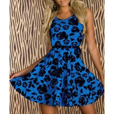 Stylish Scoop Collar Sleeveless Floral Print Women's Flare Dress