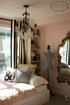Jillian Harris - Girls bedroom - soft pink walls - black & white drapes - gold ornate mirror