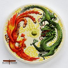 The 2017 Australian Dragon and Phoenix coloured 1 ounce Silver Bullion Coin,This limited edition silver bullion coin has been coloured & gold gilded.