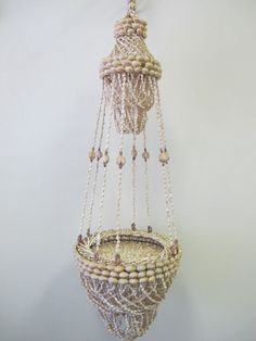 """Vintage large hand made sea shell tiki bar plant hanger chandelier style 36"""""""