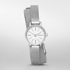 This 20mm Hagen watch features a sandblast dial, linear indexes and two-hand movement. The steel-mesh strap wraps twice around the wrist for a jewelry-inspired look.