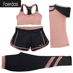 faerdasi M-3XL New Sports Suit Women Yoga Set Fitness Suit Sports Bra T-shirt Shorts Sports Pants 4 IN 1 Sportswears Breathable *** AliExpress Affiliate's buyable pin. View the item in details on www.aliexpress.com by clicking the VISIT button #Yogapants