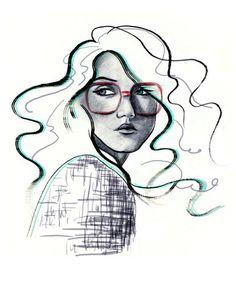by Nicole Jarecz Illustration Photo, Hair Sketch, Sketch Art, Cool Artwork, Amazing Artwork, Awesome Art, Artist At Work, Creative Art, Pop Art