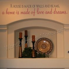 HOME IS MADE OF LOVE AND DREAMS Inspirational Wall Quote