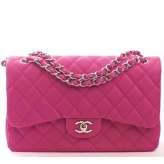Chanel Hot Pink Matte Iridescent Quilted Caviar Classic Jumbo 2.55 Double Flap Bag.