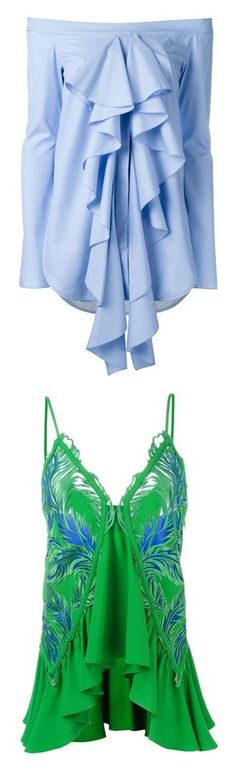 """"""""""" by sylvia-tall ❤ liked on Polyvore featuring tops, blouses, ruffled blouse, shirts, blue, ruffle blouse, shirt tops, ruffle shirt, flutter-sleeve top and flounce shirt"""