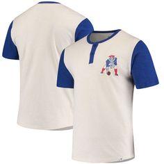 New England Patriots NFL Pro Line by Fanatics Branded True Classics Throwback Henley T-Shirt – Cream/Royal