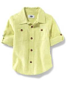 Linen Blend Roll-Sleeve Oxford for Boys | Old Navy