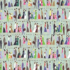 This fun fabric is showing lovely men, women and children out and about on a Saturday morning! Strolling through Paris, possibly?  Listing Quantity: 1/2 yard of fabric (18 x 44 in or 45 x 111 cm)  Basic Stats Color(s): Coral, blue, gray, yellow, purple white Pattern Size: Collection: Saturday Morning Designer: Basicgrey Manufacturer: Moda Material: 100% Cotton Weight: Quilting/Fashion Weight Width: 44/45 inches (111/114 cm) Additional Info: Machine wash cold and tumble dry low. Remove…