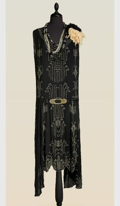 Charleston black chiffon gown with crystal embroidery, 1920s (marked Biby 25)