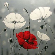Canvas Print White Poppies Flower paintings by ArtonlineGallery, $117.00