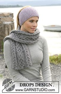 """DROPS - Moss stitched DROPS head band in 2 threads """"Eskimo"""" and scarf with cables in """"Alaska"""". - Free pattern by DROPS Design Drops Design, Headband Pattern, Knitted Headband, Knitted Hats, Finger Knitting, Free Knitting, Magazine Drops, Moss Stitch, Baby Knitting Patterns"""