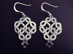 White Lace Bridal Earrings in Tatting Alexandra by TataniaRosa