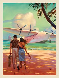 This series of romantic travel art is made from original oil paintings by artist. This series of romantic travel art is made from original oil paintings by artist Kai Carpenter. Poster Art, Kunst Poster, Art Deco Posters, Romantic Vacations, Romantic Travel, Deco New York, Vintage Hawaii, Arte Pop, Vintage Travel Posters