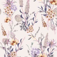 Romantic pink and violet blush floral print Textile Pattern Design, Textile Patterns, Flower Patterns, Print Patterns, Pattern Print, Botanical Flowers, Botanical Prints, Floral Drawing, Textiles