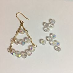 Glittery crystal triangle earrings