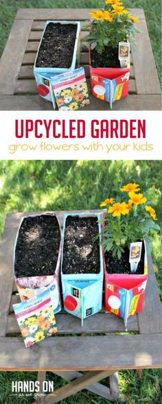 Cute hands on gardening activities for Exploring Creation with Botany: This fun and flower garden for kids is made from an everyday object just sitting in your refrigerator: a juice or milk carton.