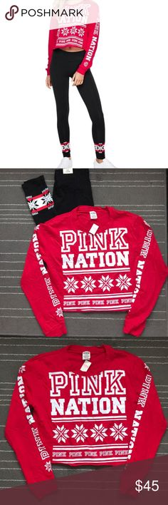 PINK NATION Holiday Set! Top M/ Bottom S Sold Out! PINK NATION holiday set.   Bottom- Size S... leggings Top-Size M... loose crop top NWT  Super cute for a holiday get together with family and friends! PINK Victoria's Secret Pants Leggings
