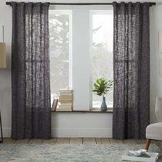WEST ELM Scroll Medallion Curtain Smoke Blue 48 156 For 4 7 Ft Panels