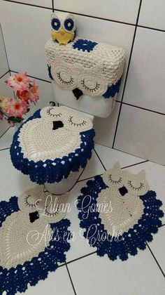 Home Decor - Owl Bathroom Set Owl Crochet Patterns, Crochet Owls, Doily Patterns, Crochet Doilies, Crochet Flowers, Crochet Baby, Knit Crochet, Crochet Kitchen, Crochet Home