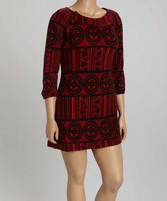 68282dc497d Black   Red Geometric Medallion Sweater Dress - Plus