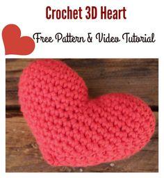 Crochet 3D Heart Free Pattern and Video Tutorial