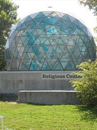 The Religious Center, Southern Illinois University-Edwardsville. The Religious Center sits astride the 90th western meridian of longitude. The dome is inscribed with the outlines of the continents and oceans, with Edwardsville at the top of the dome. This is where Jerry and I were married.