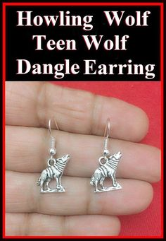 FREE SHIPPING & Only $8.99 Beautiful Howling Wolf Teen Wolf Silver Dangle Earrings.