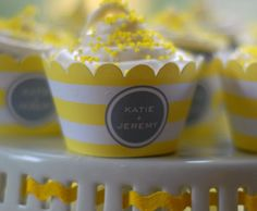 Love the yellow and gray cupcake covers