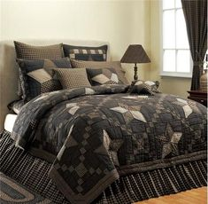 """Farmhouse Star"" collection is stunning!  Stars pieced  in black and tan cotton plaids, checks and striped  fabrics."