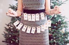 Merry Christmas Vintage Tag Garland