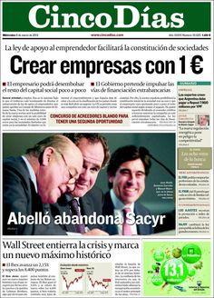 Los Titulares y Portadas de Noticias Destacadas Españolas del 6 de Marzo de 2013 del Diario Cinco Días ¿Que le pareció esta Portada de este Diario Español?