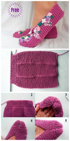 Stockinette Stitch Knit Lilac Slippers Free Knitting Patterns – Crochet and Knitting Patterns Loom Knitting, Knitting Stitches, Knitting Socks, Knitting Patterns Free, Knit Patterns, Free Knitting, Baby Knitting, Knit Slippers Free Pattern, Crochet Slipper Pattern